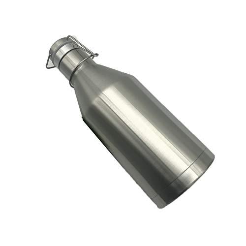 Hervidor de agua de acero inoxidable al vacío, sin BPA, botella de cerveza, montañismo, viaje, portátil, a prueba de fugas, para estudiantes masculinos y femeninos (plata, 1 L)