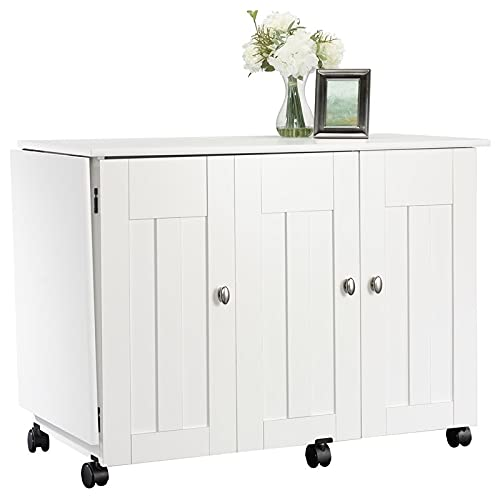 BOWERY HILL Engineered Wood Drop-Leaf Sewing or Craft Table in Soft White