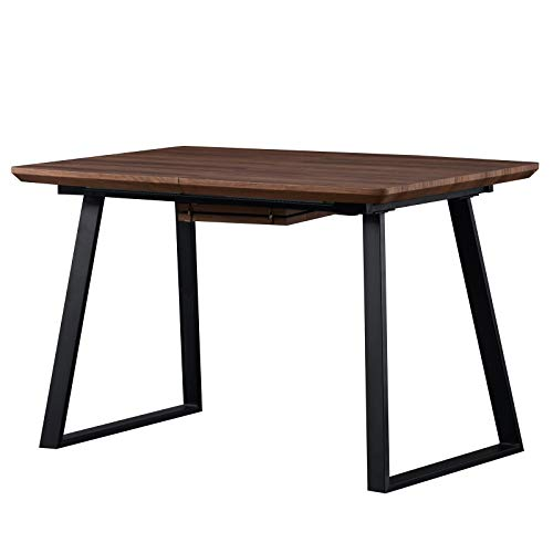 Dining Room Dining Table Breakfast 1 Rectangular Table 155x 80 x 75 Kitchen Table, Industrial Style with Metal Legs, MDF with Walnut Veneer, Black Powder Coated Metal,Seats 2-4 (OAK-New)