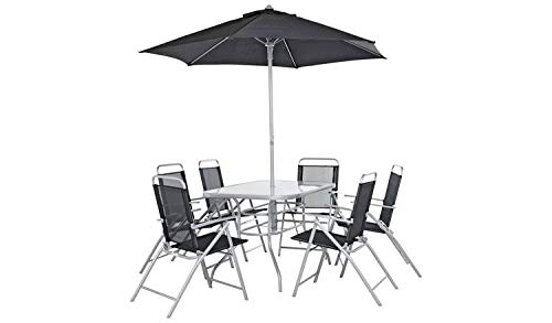 Havnyt Pacific 6 Seater Garden Patio Set with Folding Chairs Weatherproof (black with parasol)