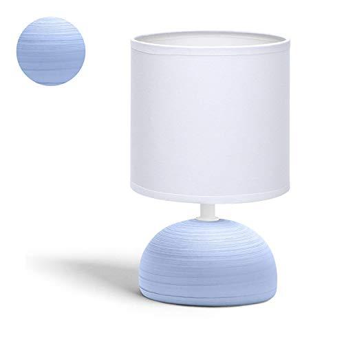 Aigostar 196998- Lámpara de cerámica de mesa, semioval azul, cuerpo de diseño sencillo color azul, pantalla de tela color blanco, casquillo E14. Perfecta para el salón, dormitorio o recibidor.
