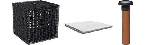 Cagette pour la rétention des eaux de pluie Kit 205L y compris chiffon anti racine + Tuyau 50cm pour ventilation (Ø 110mm)