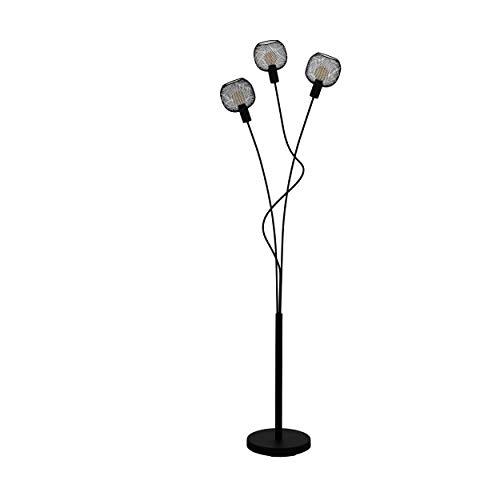 EGLO Stehlampe Wrington 1, 3 flammige Stehleuchte Vintage, Industrial, Retro, Standleuchte aus Stahl, Wohnzimmerlampe in Schwarz, Lampe mit Tritt-Schalter, E14 Fassung