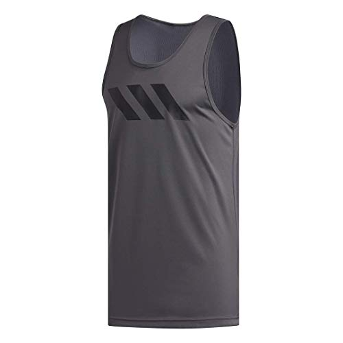 adidas Camiseta de Tirantes Hombre con 3 Rayas, Hombre, Camisa, FL0951, Gris, Large