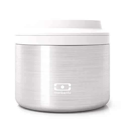 monbento - MB Element metallic Silver lunch box isotherme gris - Boîte bento qui garde votre repas chaud - sans BPA - durable et sûre