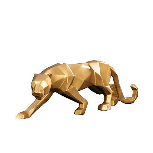 qianyue Resina Abstracto Negro Pantera Escultura Figura Decorativa Artesanal casa Escritorio decoración geométrica Resina Wildlife Leopardo Estatua Craft (Oro)