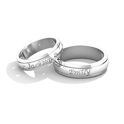 IGI Certified Diamond - Alianza de boda con nombre clásico grabado de oro, HI-SI Color Clarity Diamond Eternity Band, anillo personalizado para pareja, 14K Oro blanco, Diamante, Size:EU 65