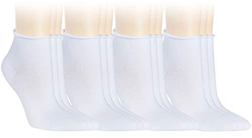Vitasox 15265 Damen Socken Kurzsocken Rollrand einfarbig Weiß 12er Paar 35/38