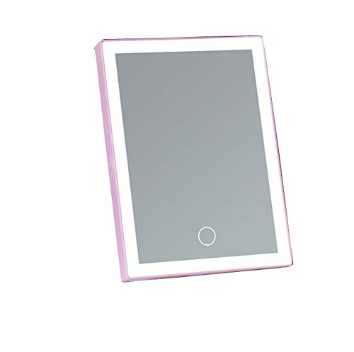 GYWY Espejo De Maquillaje LED Regulable, Pantalla Táctil Portátil Plegable Alta Definición Fuente De Alimentación Dual(Rosa)