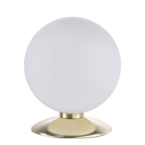 Paul Neuhaus, LED Tischleuchte, dimmbar über Tastdimmer, 3-Stufen Dimmer, Tischlampe, warmweiss, Nachttischlampe, rund, stahl
