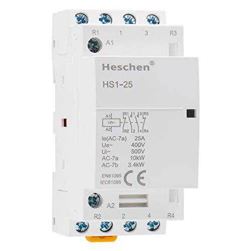 Heschen Contactor de CA doméstico HS1-25 Ie 25A 4 polos 2NO 2NC 12V Voltaje de bobina 35mm Montaje en carril DIN