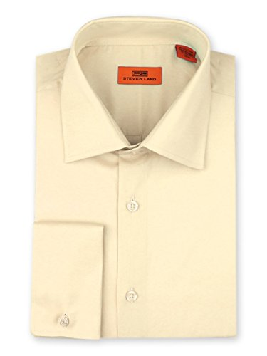 Steven Land Men's Signature Solid Poplin Dress Shirt 100% Cotton French Cuff Also Available Big and...
