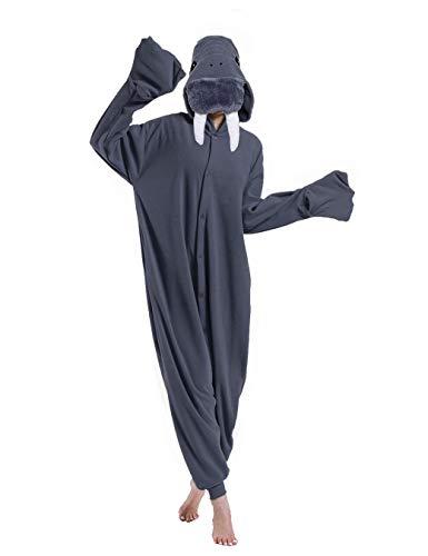 dressfan Tier Walross Kostüm Walross Jumpsuits Walross Pyjamas Cosplay Kostüm Weihnachten Halloween Schlafanzug für Unisex Erwachsene Jugendliche Kinder Grau XL