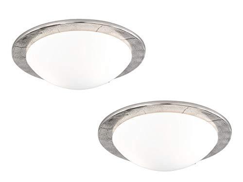 2er Set Deckenleuchten SHINE-ALU im Antik Stil, Nickel / Glas opalweiß matt, Ø 38 cm, Fischer-Leuchten 13098