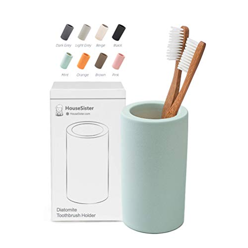 HouseSister Organic Diatomite Toothbrush Toothpaste Makeup Brushes Razors Holder Bathroom Countertop Organizer Stand Cup Organizer (Mint)