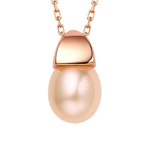 fei liu Fine Jewellery - Ciondolo a Forma di ghianda in Argento Colore Rosa e Perle 43 cm