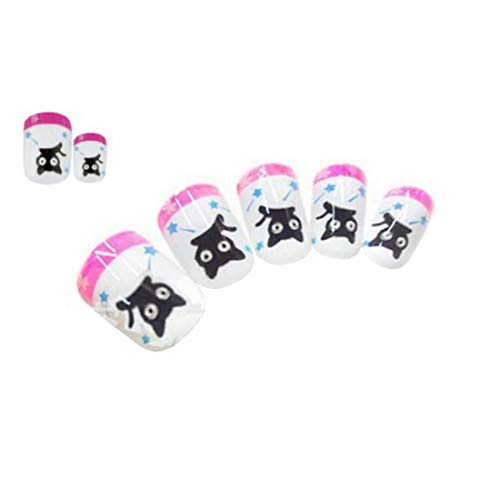 Tokkids 24 pcs fau ongles enfant, pré collé (black cat)
