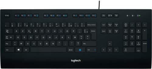Logitech K280e Pro Kabelgebundene Business Tastatur für Windows, Linux und Chrome, USB-Anschluss, Handballenauflage, Spritzwassergeschützt, PC/Laptop, Französisches AZERTY-Layout - schwarz