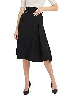 Tronjori Womens High Waisted A Line Pleated Street Midi Skirt with Belt