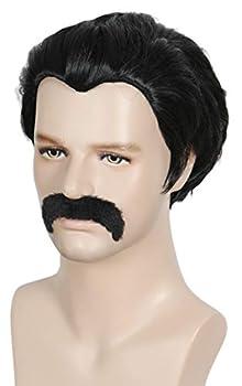 Linfairy Short 80 s Costumes Men s Disco Dirt Bag Wig & Moustache Halloween Cosplay Costume Black Wig