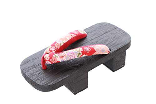 K-G-36-1 rood Sakura bloemen zwart Japan Geta hout teenslippers hoge hak sandalen tabi sokken Geisha Kimono Yukata (maat 36/37) Fabrikantmaat 38