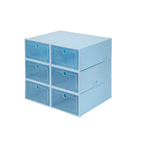 Cajas de almacenamiento de zapatos 6 piezas Caja de zapatos de plástico transparente Contenedor de almacenamiento resistente Tainer Cajas de zapatos ordenadas Organizador de soporte de zapatos,Azul,S