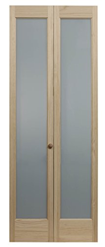 LTL Home Products 833730 Frosted Full Glass Bifold Interior Solid Wood Door, 36 Inches x 80 Inches, Unfinished Pine