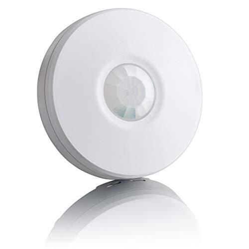 SEBSON Detector de Movimiento Exterior IP65, Montaje Superficie en Techo, programable, Sensor de Infrarrojos, 8m / 360°, LED Adecuado