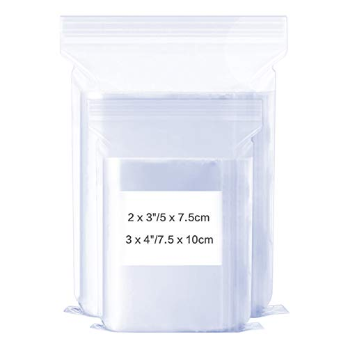 1200 Pack Assorted Size Poly Zipper Bags, 2x3, 3x4 Inch, 2 Mil Small Crafts Plastic Bag Clear Resealable Ziplock Storage for Jewelry, Crafts, Bead