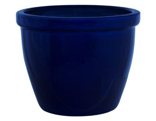 K&K Blumenkübel/Pflanzgefäß/Blumentopf/Pflanzkübel Venus II, 32 x 23 cm, blau (Kobalt) aus Steinzeug-Keramik (hochwertiger als Steingut)