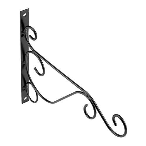 Omabeta Einfache Installation 30 * 21cm Pflanzenhalter Robustes Eisen Brond Neu für die Gartendekoration(Black)