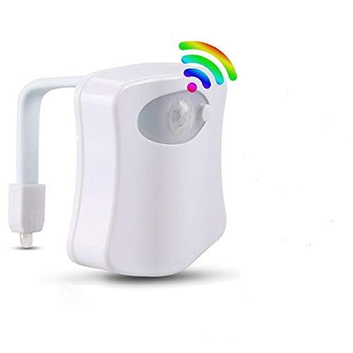 Luce WC per Bagno,Lampada Notturne Bagno WC Led Luce Batteria con Sensore di Movimento, 8 Cambiamento di Colori [Classe di efficienza energetica A]