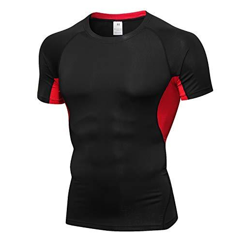 Folima Men's Short Sleeve Compression Shirt Running Workout Baselayer Shirt, Shapewear for Men, Black&red, X-Large
