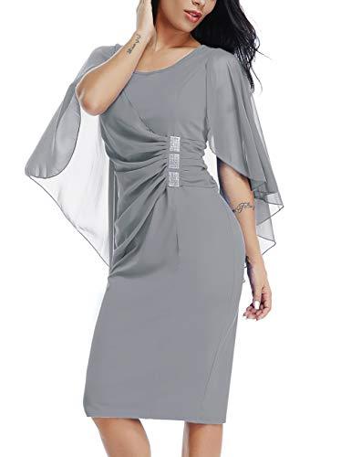 LALAGEN Womens Chiffon Plus Size Ruffle Flattering Cape Sleeve Bodycon Party Pencil Dress Grey XL