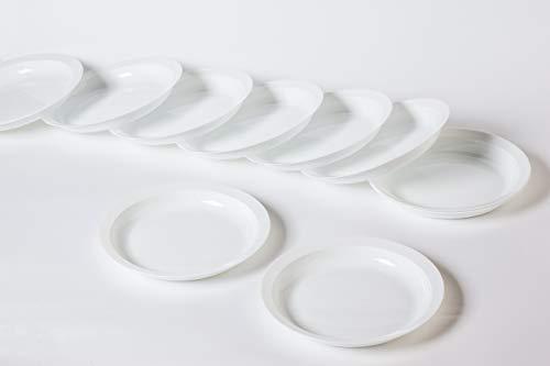 Pack 100 Platos Plástico Duro, Blanco, Hondo Grane 21,3cm - Lavable y Reutilizable - Vajilla Desechables para Catering Bodas Fiestas Cumpleaños Navidad. Grandes Calidades