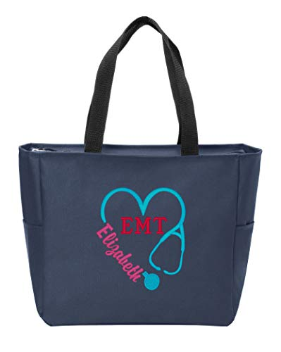Personalized Monogram Tote Bag Nurse Doctor Appreciation Heart Stethoscope Initials Gift RN LPN CNA (Navy)
