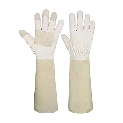 Garden Gloves Women&Men,Rose Pruning Gloves Pigskin Leather Puncture Resistance Long Sleeve Rose Gardening Gloves,Thorn Proof Garden Work Gauntlet with Forearm Protection(M, Beige)