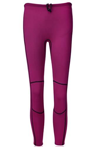 REALON Swim Tights Wetsuit Pants Women 3mm Neoprene and 2mm Men Youth Triathlon Outdoor Sport UV Suit Leggings Girls Boys Surfing Scuba Diving Snorkel (2mm Women Red, M)