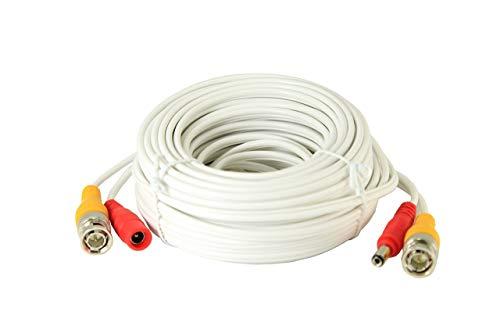 installercctv 60ft Todo en uno vídeo HD-TVI HD-CVI AHD analógica 1080P Premade Cable para CCTV Cámaras de Seguridad–Blanco