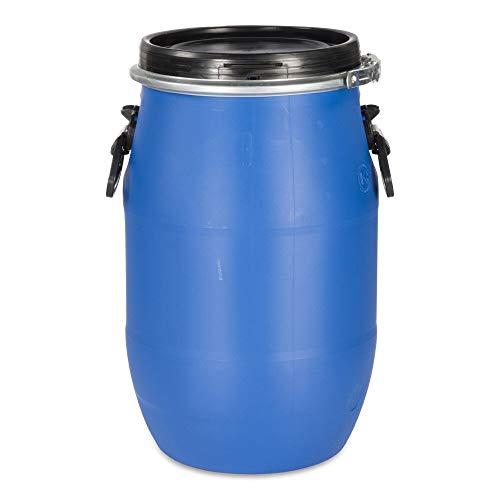 30 Liter Weithalsfass Deckelfass Spannring Fass Tonne blau