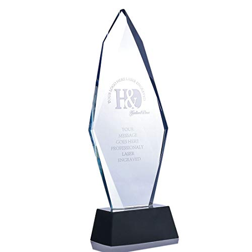 H&D Crystal Awards Plaque Cadeau, Pas Laser Graveren Kristal Glas Trofee met Base