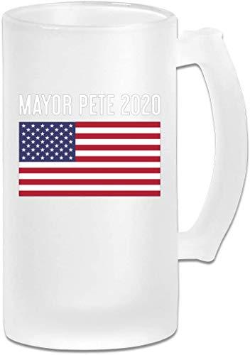 Mayor Pete 2020 Tazas de cerveza esmeriladas con bandera estadounidense Vidrio, Tazas de cerveza de...