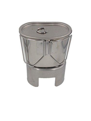 Jolmo Lander Kocher für US Feldflasche,US Armee Militär Kochgeschirr,US Feldflaschenbecher mit Deckel und Canteen Cup Stand aus edelstahl
