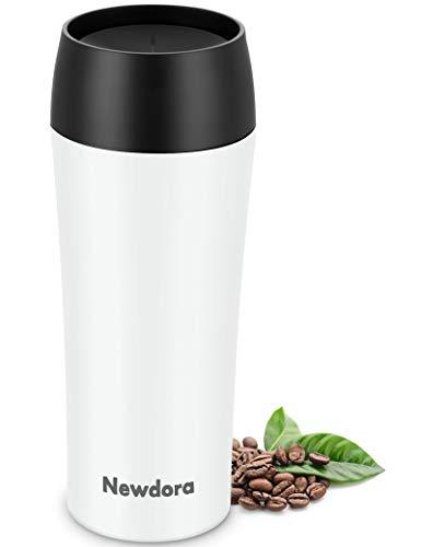 Newdora Termos Caffè, Tazza da Caffè da Viaggio 380ML, Borraccia Termica Inossidabile con Una Spazzola per la Pulizia, Tazzine Termica Caffe Travel Mug Senza BPA, Bici, a Prova di Perdite - Bianca