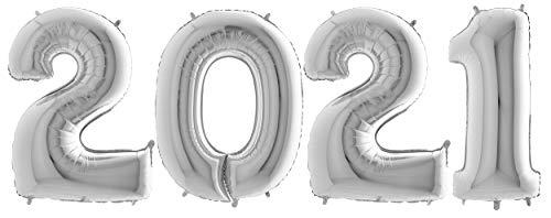 feiermeier® Ballon Zahl 2021 Party Geschenk Dekoration Folienballon Luftballon Silvester Happy Birthday besonderer Anlass Abschluss (Silber)