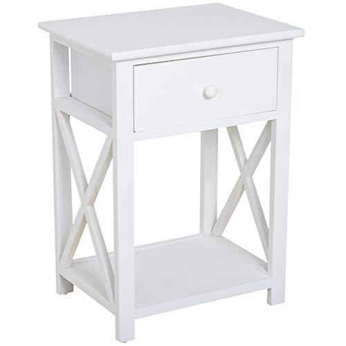 Homcom Table de Chevet Table de Nuit Style Cosy avec Croix latérales tiroir et étagère Bois et MDF Blanc