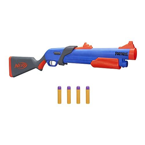 NERF Fortnite Pump SG Blaster, Pump-Action Blaster, Hinterlader, 4 Mega Darts, für Kids, Jugendliche und Erwachsene