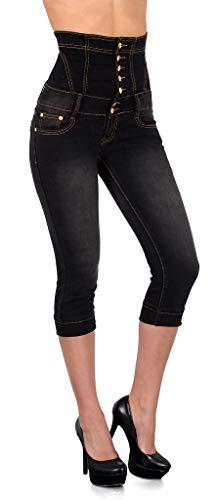 ESRA Pantacourt Femme Jean Capri Pantalon Jeans pour Femmes Taille Haute à Grandes Tailles J350