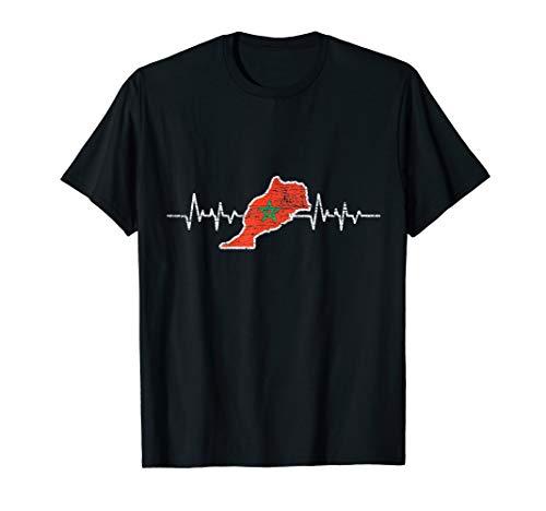 Herzschlag Marokkanische Flagge Geschenk Marokko T-Shirt