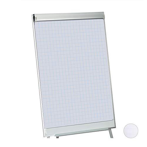 Relaxdays Flipchart Papier, Kariertes Moderationspapier, Block à 50 Blatt, 60 g/m², 6-fache Lochung, 57,5 x 81 cm, weiß, 1 Stück